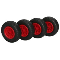 4 x PU Wheel Ø 200 mm 2.50-4 plain bearing, PUNCTURE...