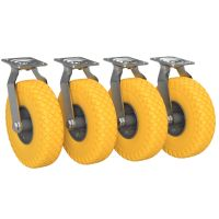 4 x Steerable Caster with Polyurethane Wheel Ø 260 mm...