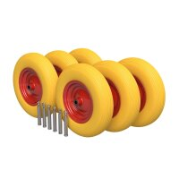 6 x Polyurethane Wheel Ø 400 mm 4.80/4.00-8, Wheelbarrow,...