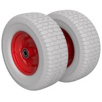2 x Polyurethane Wheel Ø 400 mm 6.50-8, 2 ball bearings,...