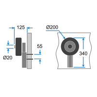 Launching Wheels, Dinghy Wheels, SUPROD MD200, Stainless Steel A4