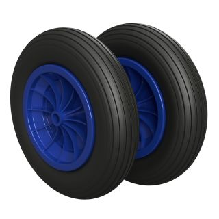 2 x PU Wheel Ø 350 mm 3.50-8 plain bearing, PUNCTURE PROOF, black/blue