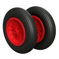 2 x PU Wheel Ø 350 mm 3.50-8 plain bearing, PUNCTURE...