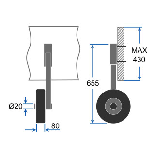 Launching Wheels  with PNEUMATIC WHEELS, extra big, SUPROD ET350-LU, stainless steel