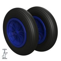 2 x Pneumatic Wheel Ø 370 mm 3.50-8 plain bearing,...