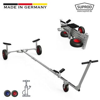 Foldable Launching Trolley with PNEUMATIC WHEELS, for Inflatable Boats, SUPROD TR260-LU