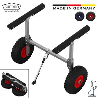 Canoe cart with PNEUMATIC WHEELS, SUP trolley, SUPROD KW260-LU, aluminum
