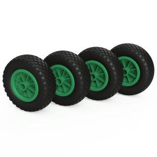 4 ruote PU (nero / verde)