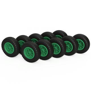 10 ruote PU (nero / verde)