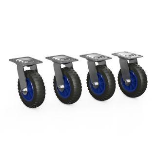 4 x svänghjul med PU-hjul (svart / blå)