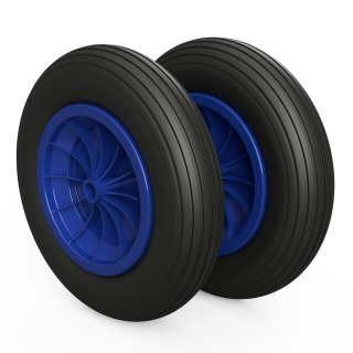 2 x roue PU (noir / bleu)
