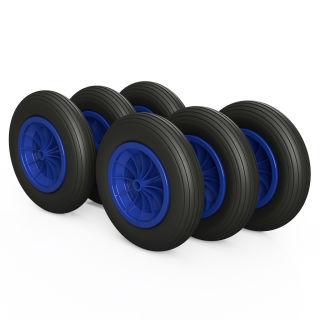 6 x PU-hjul (svart / blå)