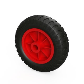 1 x PU-wiel (zwart / rood)