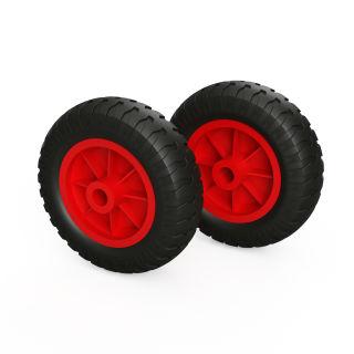 2 x PU-wiel (zwart / rood)