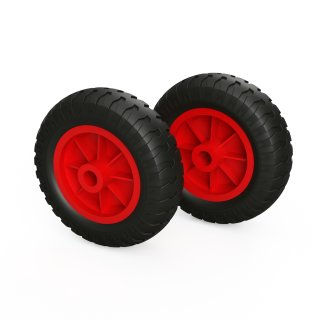 2 x rueda PU (negro / rojo)