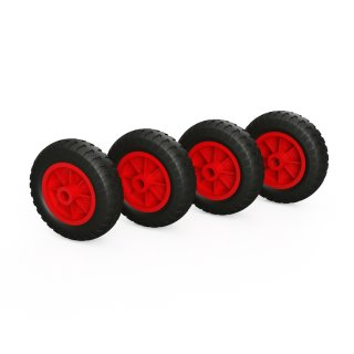 4 x PU-wiel (zwart / rood)