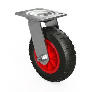 1 x svänghjul med PU-hjul (svart / rött)