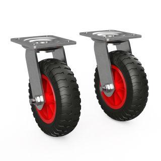 2 x svänghjul med PU-hjul (svart / rött)