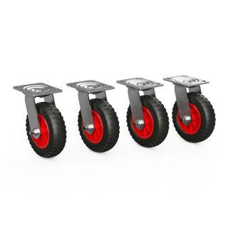 4 x zestaw skretny z kólkiem PU (czarny / czerwony)