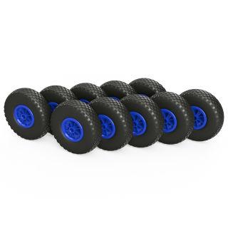 10 x PU hjul (sort / blå)