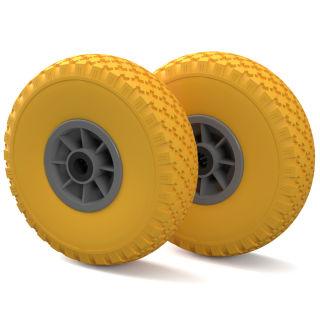 2 x PU-hjul (gul / grå)
