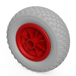 1 x PU-hjul (grå / röd)