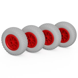 4 x PU-hjul (grått / rött)
