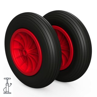 2 x hjul (svart / rødt)