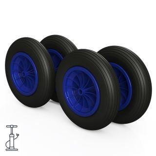 4 x hjul (svart / blå)