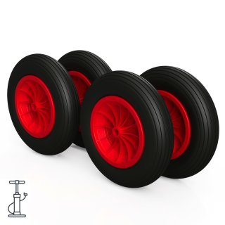 4 x hjul (svart / rødt)