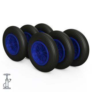 6 x hjul (svart / blå)