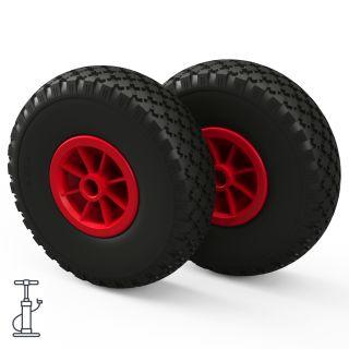 2 x wiel (zwart / rood)
