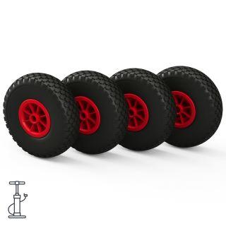4 x hjul (sort / rød)