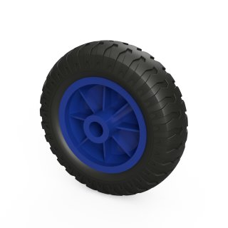 1 x PU-wiel (zwart / blauw)