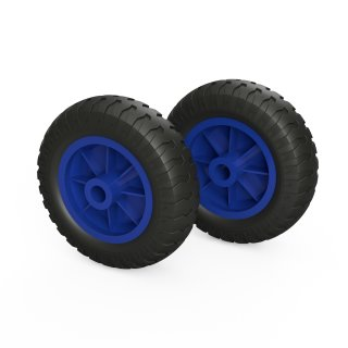 2 x PU-wiel (zwart / blauw)