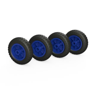 4 x PU-wiel (zwart / blauw)