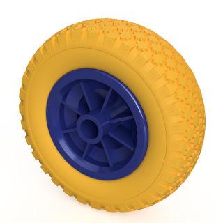 1 ruota PU (giallo / blu)