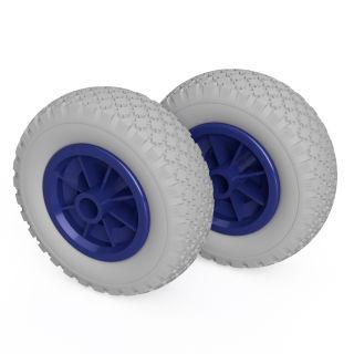 2 ruote PU (grigio / blu)