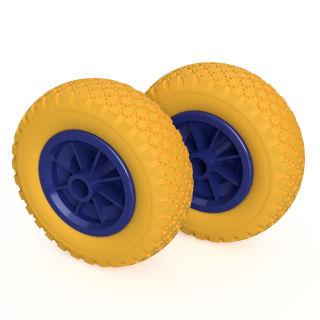 2 x PU-hjul (gul / blå)