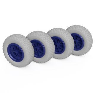 4 x PU-hjul (grå / blå)
