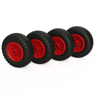 4 ruote PU (nero / rosso)