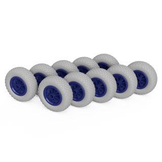 10 x PU-hjul (grå / blå)