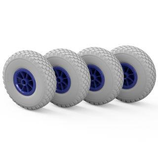 4 x PU hjul (grå / blå)