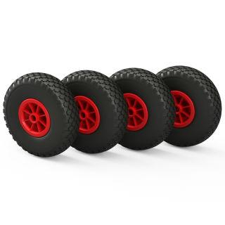 4 x PU hjul (sort / rød)