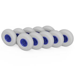 10 x PU hjul (grå / blå)