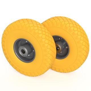 2 x rueda PU (amarillo / gris)