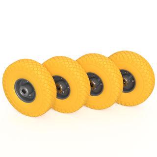 4 x rueda PU (amarillo / gris)
