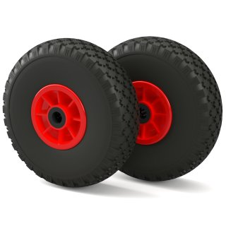 2 x PU-hjul (svart / rött)