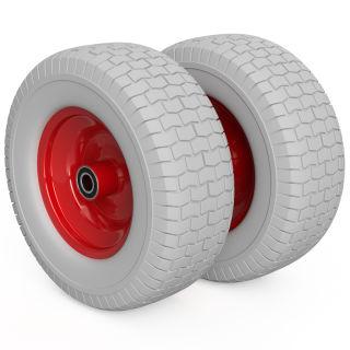 2 x roue PU (gris / rouge)