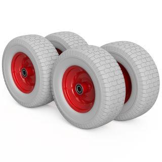 4 x roue PU (gris / rouge)